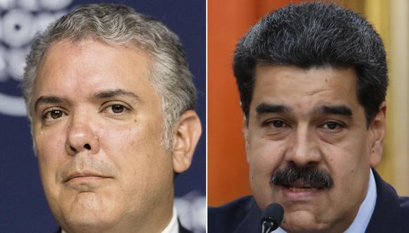 Imagen del presidente de Colombia, Iván Duque, y su homólogo de Venezuela, Nicolás Maduro. (Foto: EFE).