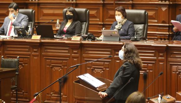 Violeta Bermúdez destacó que su Gabinete trabajará en una agenda de un gobierno de transición. (Foto: Andina / Congreso)