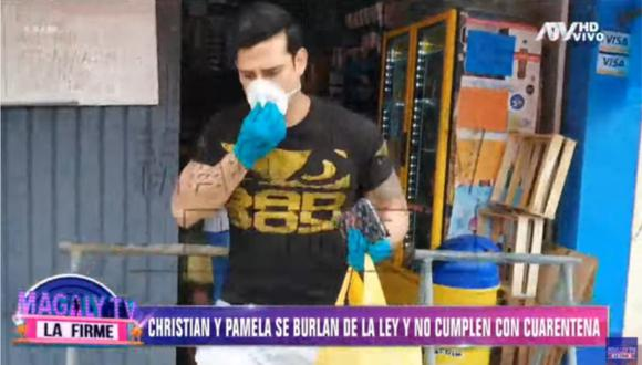 Christian Domínguez y Pamela Franco son captados incumpliendo la cuarentena. (Foto: Captura)