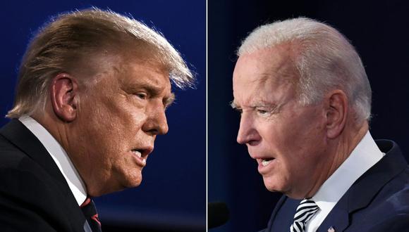 Donald Trump y Joe Biden durante el primer debate el 29 de setiembre en Cleveland. (Fotos: JIM WATSON y SAUL LOEB / AFP).