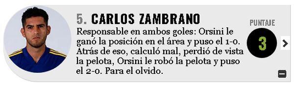 Olé calificó con un 3 la actuación de Zambrano anota Lanús. (Captura: Olé)