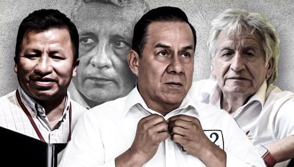 Roberto Chavarría, uno de los etnocaceristas de la futura bancada de UPP; José Vega, vocero de UPP; y Virgilio Acuña, excandidato al Congreso por UPP. (Composición: El Comercio)