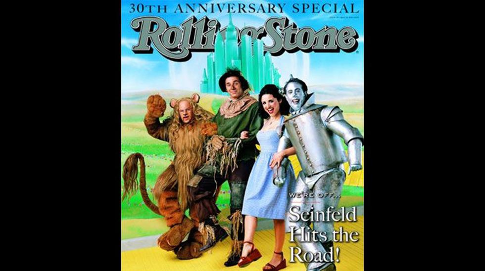 En 1998, la serie Seinfeld era de los más exitosos de la televisión. Rolling Stone decidió homenajear al elenco principal del programa caracterizándolos como los personajes de la película 'El Mago de Oz'.
