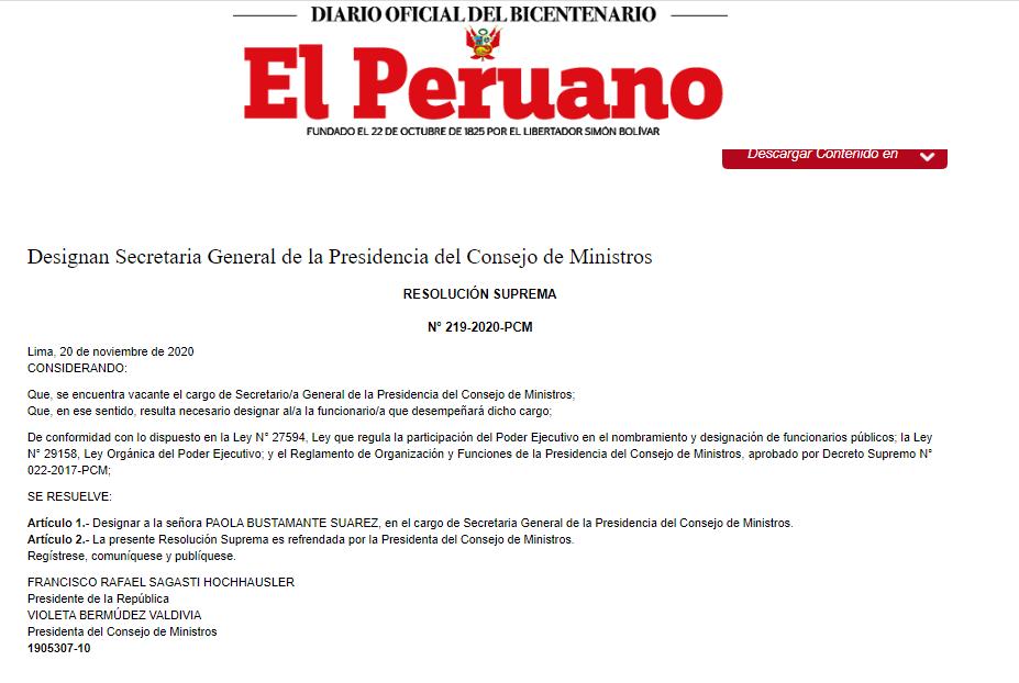 Paola Bustamante asume la secretaría general de la PMC. (Documento)