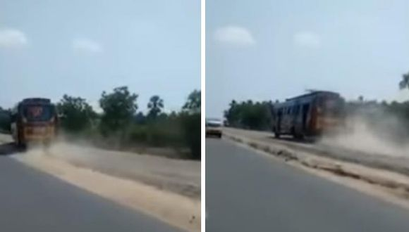 Carrera de buses en la India causa zozobra en autopista [VIDEO]