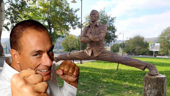 Jean-Claude Van Damme no solo llama la atención por su envidiable estado físico a los 59 años sino por la estatua que inmortaliza una de sus poses más icónicas haciendo un split de piernas.| Crédito: Jean-Claude Van Damme en Facebook.
