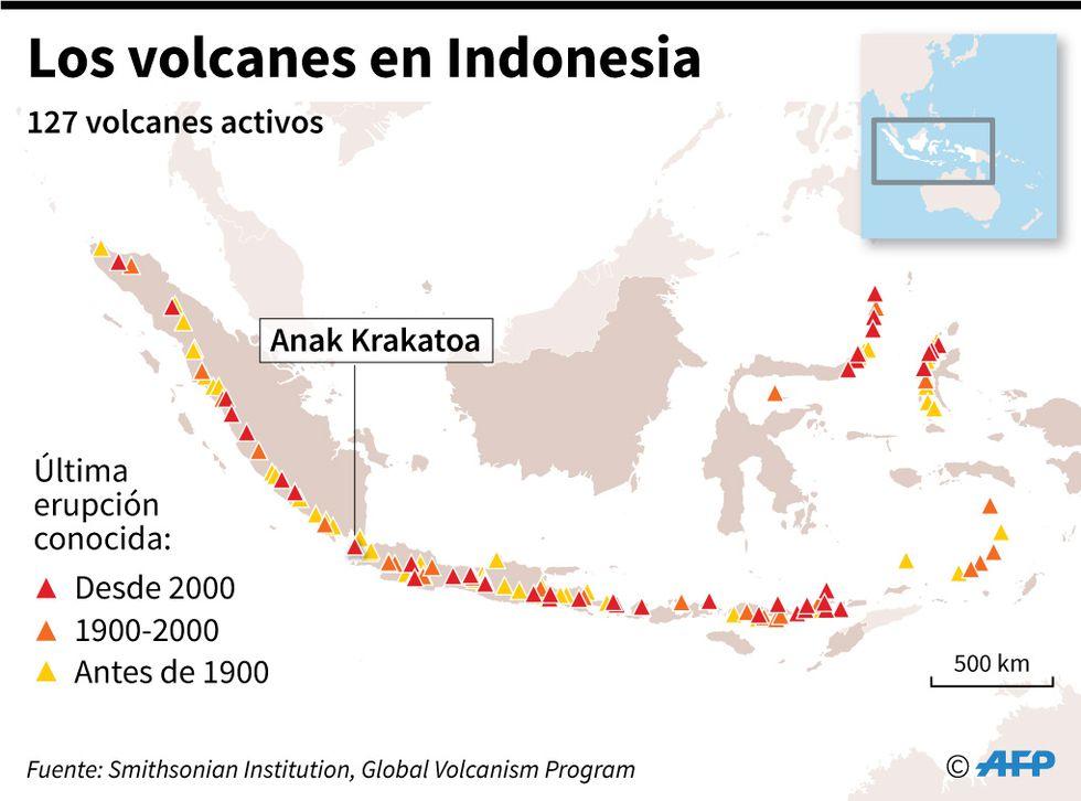 Los volcanes en Indonesia. (AFP).