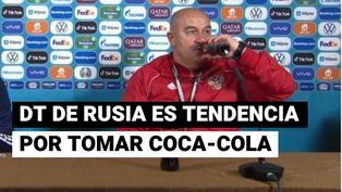 DT de Rusia le responde a Ronaldo: se tomó una gaseosa en plena conferencia