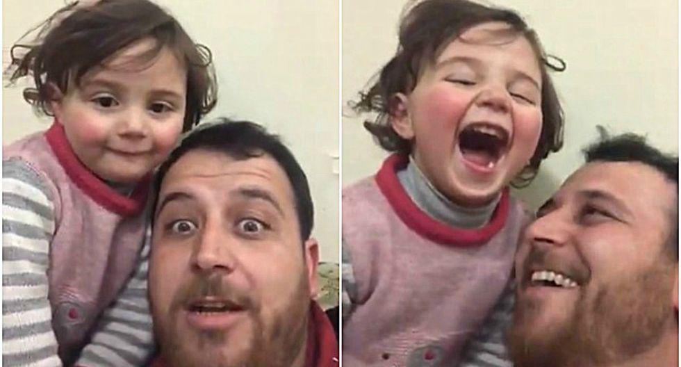 """""""Busqué soluciones para hacer de estos bombardeos una fuente de felicidad y no de miedo para la niña"""", dijo el padre de la menor que se volvió viral. (Foto: Captura)"""