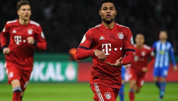 Bayern Múnich decidió el partido contra el Hertha Berlín en el tiempo suplementario. Dos goles de Serge Gnabry metieron a los bávaros a la siguiente instancia de la Copa Alemana. (Foto: AP)