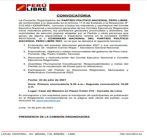 La convocatoria fue difundida por el exgobernador regional de Junín Vladimir Cerrón también secretario general de Perú Libre. (Documento)