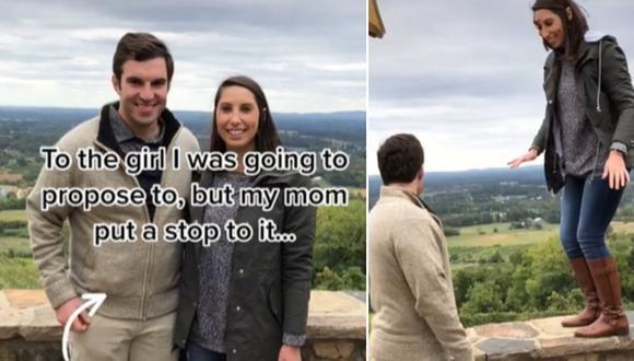 Madre es captada impidiendo que su hijo le proponga matrimonio a su novia y la escena se vuelve viral. (Foto: @catdaddan / TikTok)