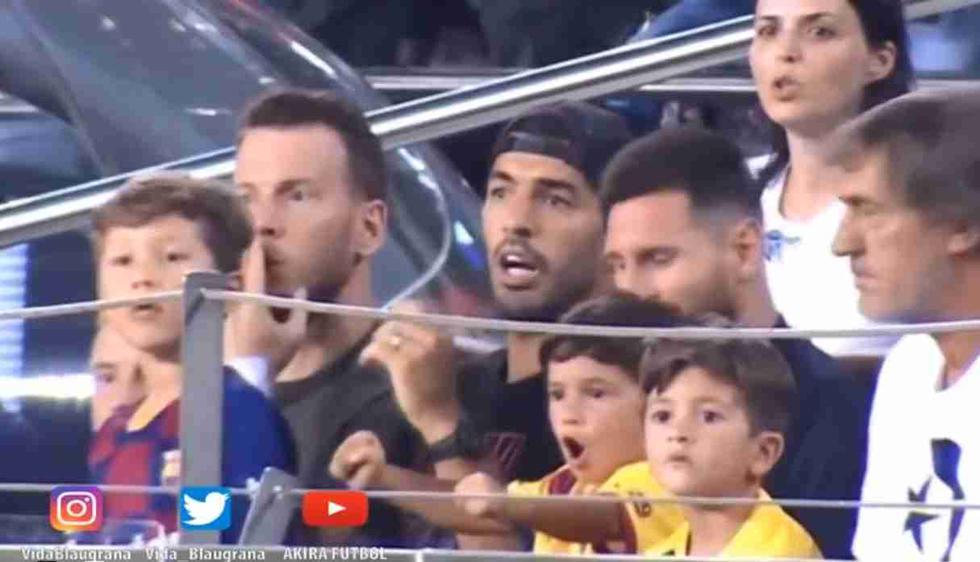 Mira la efusiva celebración de Mateo Messi a un gol de Real Betis, al lado de su papá. (Foto: Captura Twitter Vida Blaugrana)