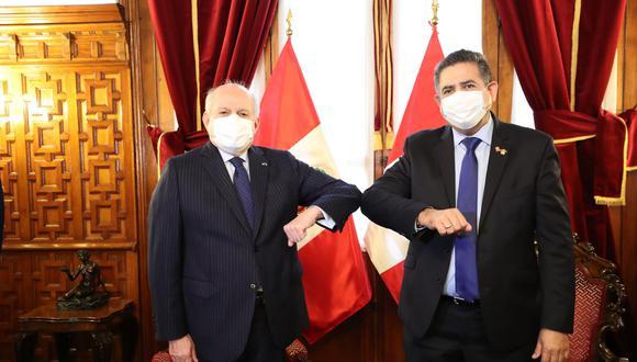 Presidente del Congreso, Manuel Merino, envió oficio al primer ministro Pedro Cateriano invitándolo a la sesión plenaria del 3 de agosto para el voto de investidura (Foto: PCM)