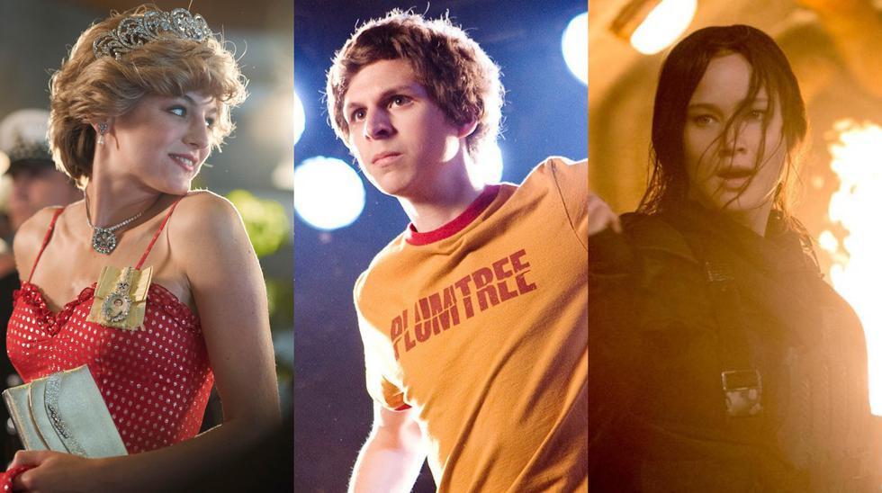 """De izquierda a derecha, imágenes de """"The Crown"""" (serie), """"Scott Pilgrim vs. el mundo"""" (película) y """"Los juegos del hambre"""" (película). Fotos: Netflix/ Universal Pictures/ Lionsgate"""