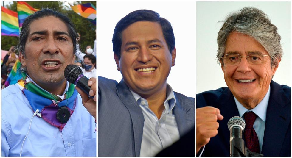 Andrés Arauz (centro) ganó las elecciones en Ecuador, mientras que Yaku Pérez (izquierda) y Guillermo Lasso se disputan el segundo lugar. (AFP).