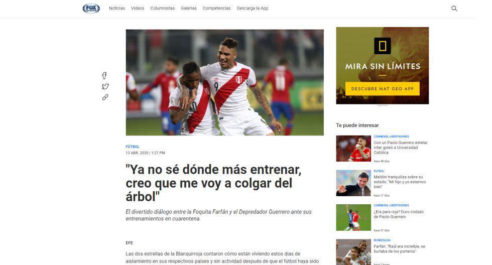 Reacción internacional del Live de Guerrero y Farfán. (Captura)
