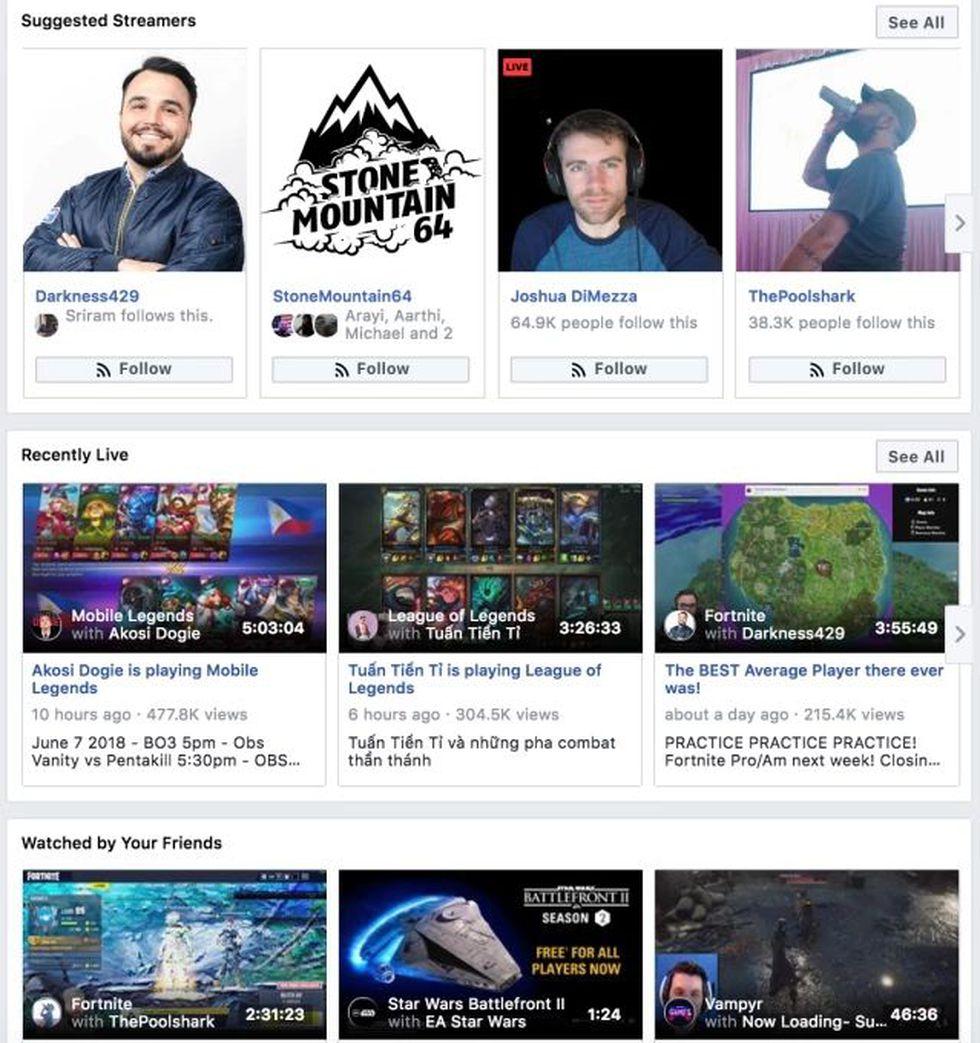 Facebook muestra en la página una colección de todos los videojuegos que se transmiten en vivo a través de Facebook Gaming. (Foto: Facebook)