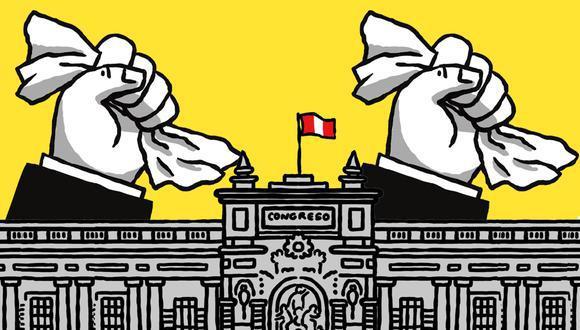 """""""No es anecdótico que la discusión se centre en si alcanzan los votos para la vacancia. Mientras, la ciudadanía resiente que se desgasten fuerzas en algo que podría resolverse de otra manera"""". (Ilustración: Víctor Aguilar para El Comercio)"""