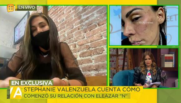 """Stephanie Valenzuela rompe su silencio en el programa """"Ventaneando"""" tras ser agredida por Eleazar Gómez. (Foto: Captura TV Azteca)"""
