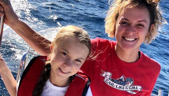 Nikki junto a Greta en medio del viaje por el Atlántico.