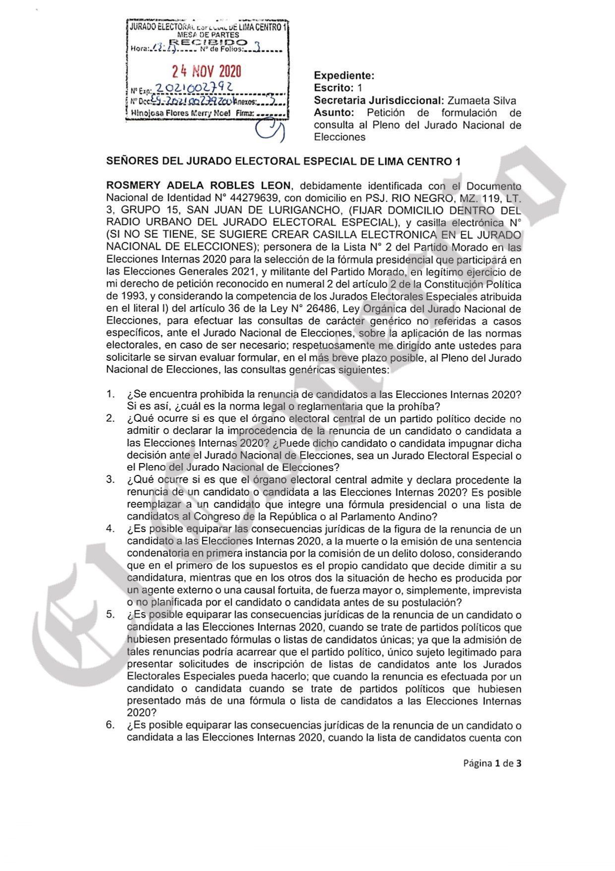 El documento enviado por la lista de Carolina Lizárraga en el Partido Morado al JEE Lima Centro 1. (Captura: El Comercio)