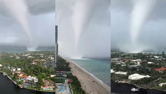Varios videos virales mostraron la tromba marina registrada en la costa de Miami, Florida. | Crédito: NBC 6 / WSVN-TV / WPLG Local 10 / Facebook.