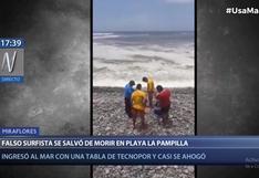 Miraflores: falso surfista ingresó a playa La Pampilla con tabla de tecnopor y se salvó de morir ahogado