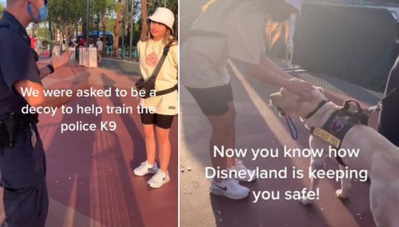 El video viral de una joven que visitó Disneyland y, en dicho lugar, ayudó a entrenar a un perro detector de bombas. (Foto: @shorteezyy / TikTok)