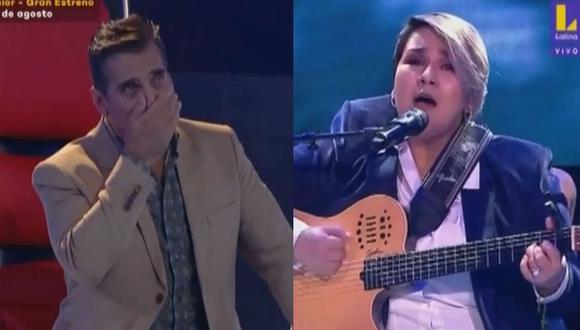 """""""La Voz Perú"""": Guillermo Dávila lloró en vivo con la interpretación de Marcela Navarro. (Foto: Captura)"""