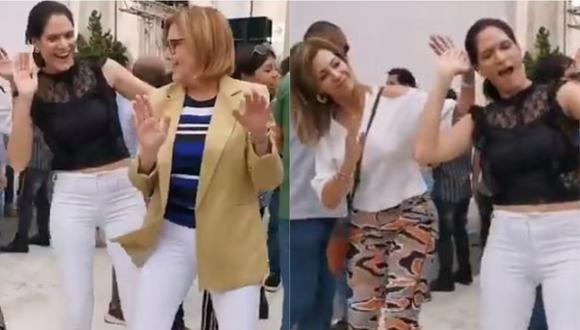 """Lorena Álvarez, María Teresa Braschi y Mónica Delta se divierten al ritmo de """"El meneito"""" en fiesta de fin de año. (Foto: Captura)"""