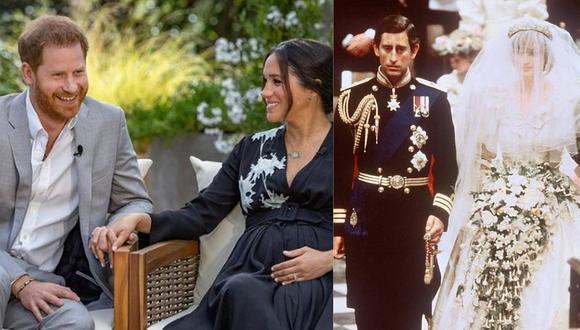 """Meghan de Sussex habló de sus ideas suicidas durante su paso por la realeza, mientras que en 1995 la princesa Diana de Gales confesaba """"éramos tres en ese matrimonio"""". (Foto: @oprahmagazine / AFP)"""