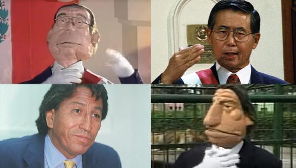 """Alberto Fujimori y Alejandro Toledo, uno en 1995 y otro en el 2001, junto a sus """"dobles"""" marionetas de """"Mueve tu curul"""", programa cómico que hizo historia en la televisión peruana. Fotos: Archivo de El Comercio/ Berlín Producciones."""