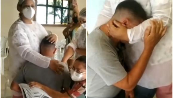 Enfermeras tranquilizan a joven con fobia a agujas para vacunarlo contra el covid-19. (Foto: @secsaudecg / Instagram)