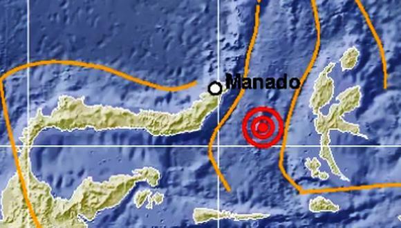 Terremoto en Indonesia de magnitud 6,9 activa alerta de tsunami. (Captura)