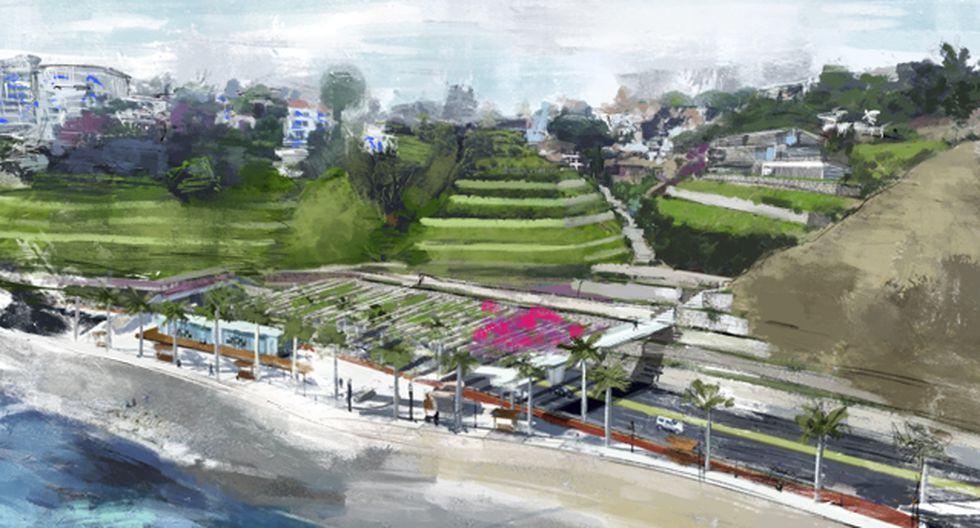 Proyecto de andenes en Barranco, elaborado por el arquitecto Jorge Ruiz de Somocurcio y el ingeniero Julio Kuroiwa en el 2016. El diseño fue presentado ese año ante la Autoridad del Proyecto Costa Verde (APCV) (Ilustración: Giovanni Tazza)