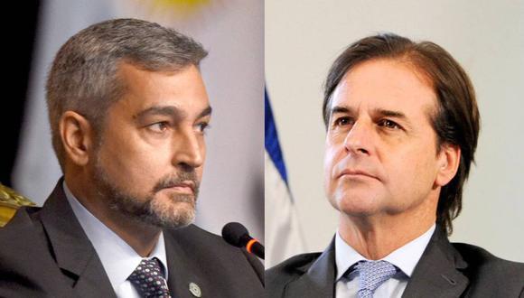 El presidente de Paraguay Mario Abdo Benítez (izquierda) rechazó que su participación en la cumbre represente un aval de su administración al gobierno de Nicolás Maduro, mientras que el mandatario de Uruguay, Luis Lacalle Pou, tuvo duras palabras sobre lo que ocurre en Venezuela.