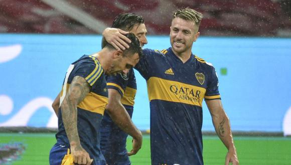 Carlos Tévez anotó el 1-0 de Boca Juniors ante Inter de Porto Alegre. (Fuente. AFP)
