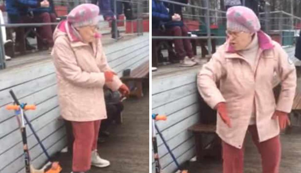 Una mujer de la tercera edad se metió al público al bolsillo con su electrizante talento para el baile. (Fotos: theCHIVE en Facebook)