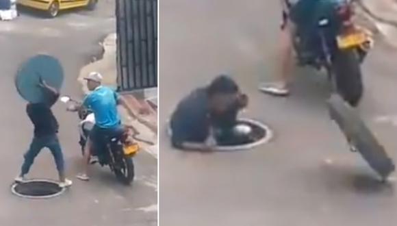 Un ladrón fue captado intentando robar una tapa de alcantarilla. Su plan salió mal, pues se cayó al hueco. (Foto: @Diegocoffes / Twitter)