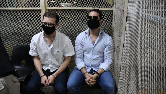 Los hermanos Luis Enrique y Ricardo Alberto Martinelli, hijos del expresidente panameño Ricardo Martinelli, fueron detenidos en Guatemala a pedido de Estados Unidos. (Foto: Johan ORDONEZ / AFP).