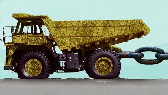 """""""En el caso de la minería su desarrollo impulsa directamente sectores como el transporte, la construcción, la electricidad, el gas y vastos sectores de la manufactura y los servicios"""". (Ilustración: Víctor Aguilar Rúa)."""
