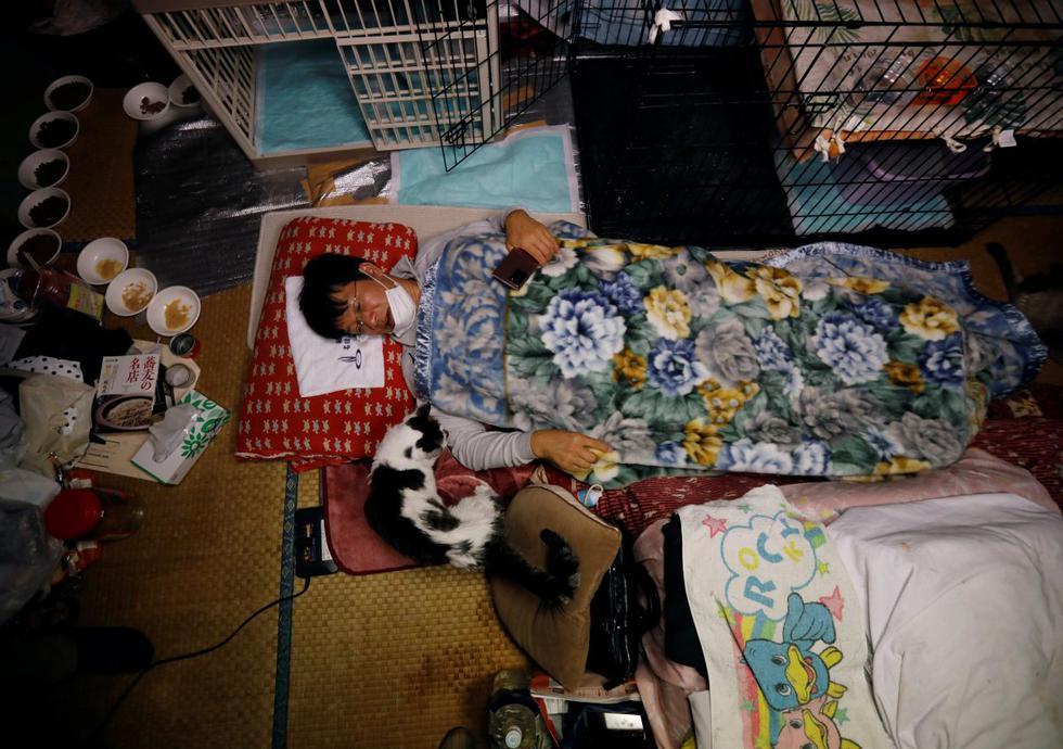 Hace una década, Sakae Kato se quedó para rescatar gatos abandonados por vecinos que huían de las nubes de radiación que eructaban de la cercana planta nuclear de Fukushima. (Foto: KIM KYUNG-HOON / REUTERS)