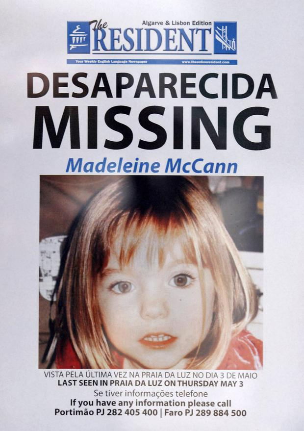 Photo taken on May 13, 2007 shows a poster with information about British woman model McCann in the Lagos Spa area of Priya da Luz in southern Portugal.  (AFP photo / Melanie maps).