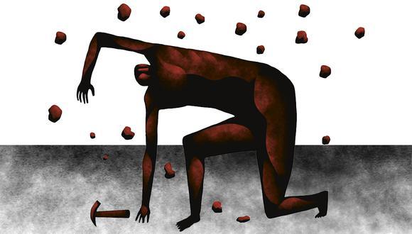 """""""Aunque en el Perú no existe un ránking de tales accidentes, el más luctuoso –por el número de víctimas– parece haber sido el que a mediados del siglo XVIII acabó con la vida de 300 hombres en una mina de Cerro de Pasco"""". (Ilustración: Víctor Aguilar Rúa)."""
