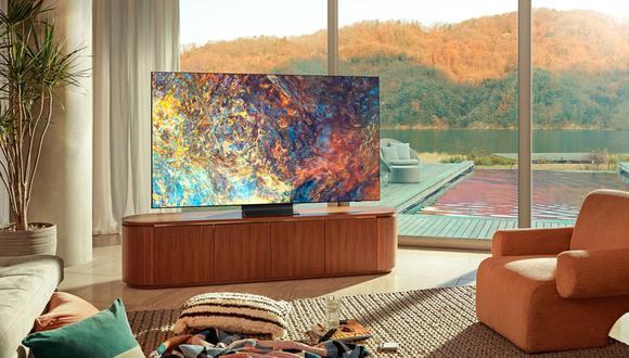 Las pantallas Neo QLED de Samsung de 2021 no tienen biseles con marcos negros, sino que la pantalla ocupa el 99% del frente del televisor. (Imagen: Samsung)