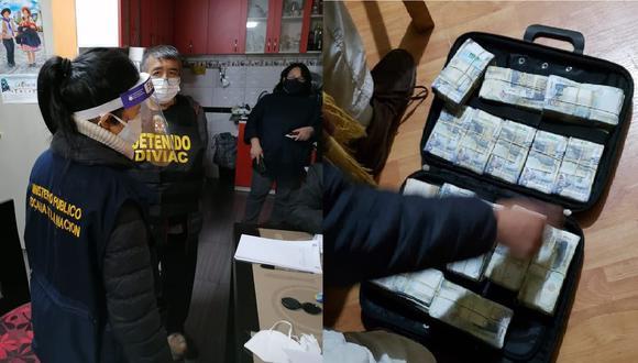 Cerca de medio millón de soles se encontró en una maleta el día de la detención preliminar de los investigados por este caso | Fotos: Ministerio Público