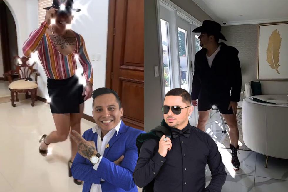 Edwin Luna se sumó a la fiebre del reto viral del #TocoTocoTo usando tacones como su colega Larry Hernández. (Foto: @edwinlunat/@larrymania en TikTok)