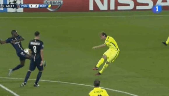 Jugador del PSG recibió un pelotazo en la zona que más duele