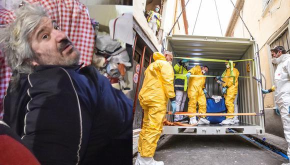Los bomberos y las unidades de rescate utilizan una grúa para levantar a Alain Panabière (hombre que pesa 300 kilos) desde su departamento en Perpiñán, Francia. (Raymond Roig/AFP - Guillaume Collard/Reuters).